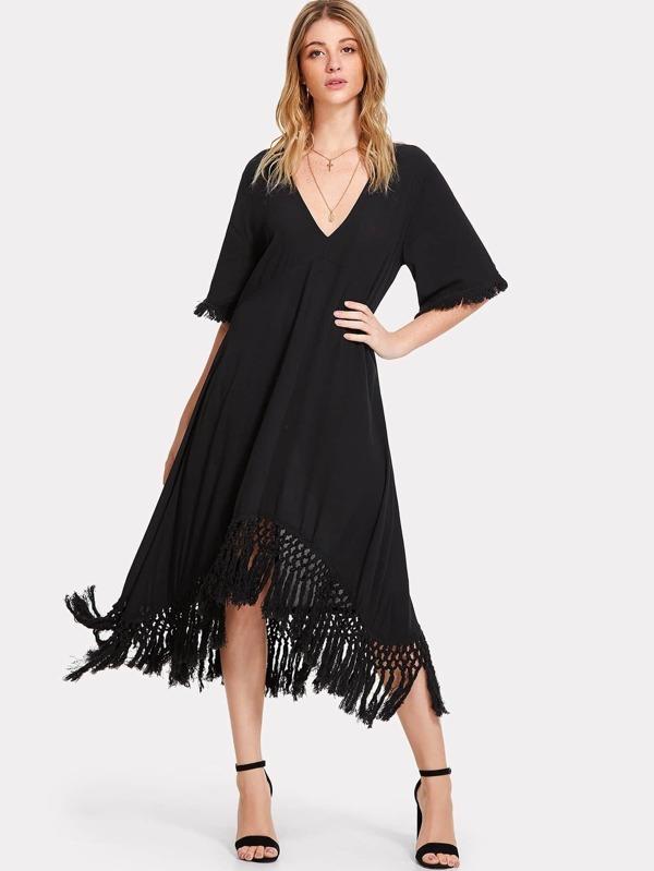d5bc13e44389d Crochet Fringe Hem Swing Dress | SHEIN