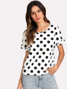 Allover Polka Dot Dolman Sleeve Top