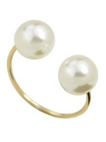 Simulated-Pearl Open Cuff Finger Ring