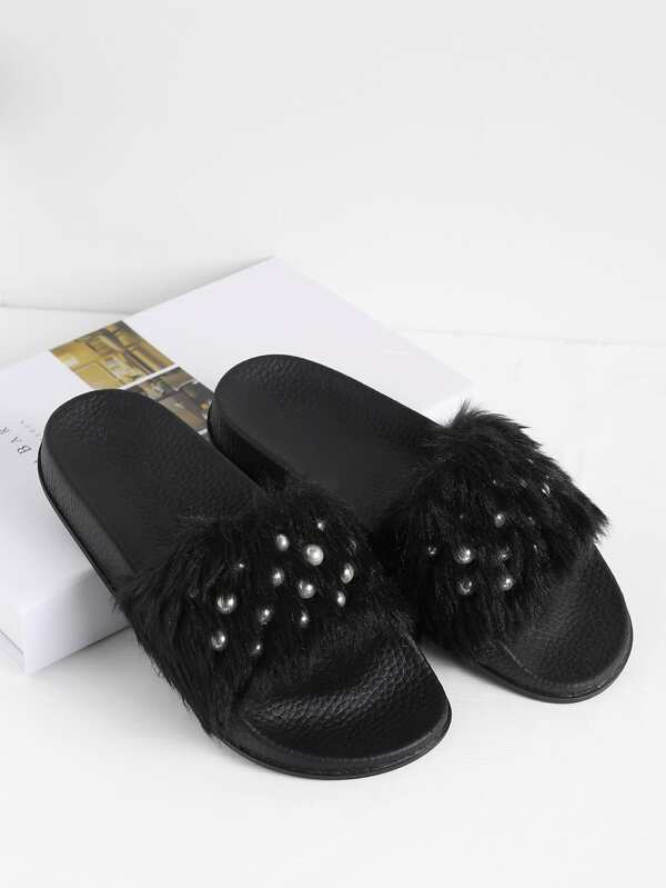 e4e1b5780 Cheap Faux Fur Flat Slippers With Faux Pearl for sale Australia