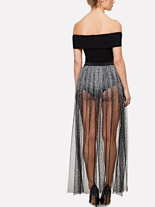 9ac2a3451 Elastic Waist Sequin Mesh Maxi Skirt   SHEIN UK