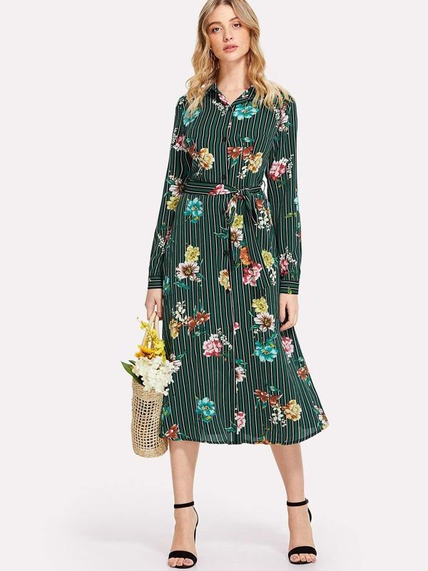 a3e184a929b Robe chemisier imprimée des fleurs à rayures