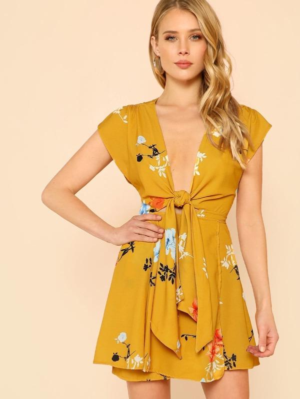 524c6301f7b7 Floral Print Cap Sleeve Wrap Dress MUSTARD   SHEIN