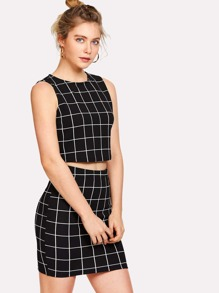 59ddf22a01448 Grid Crop Top And Skirt Co-Ord | SHEIN UK