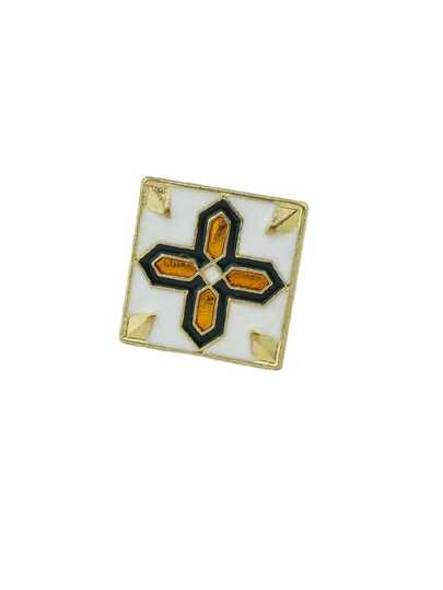 Gold Multicolored Geometric Brooch