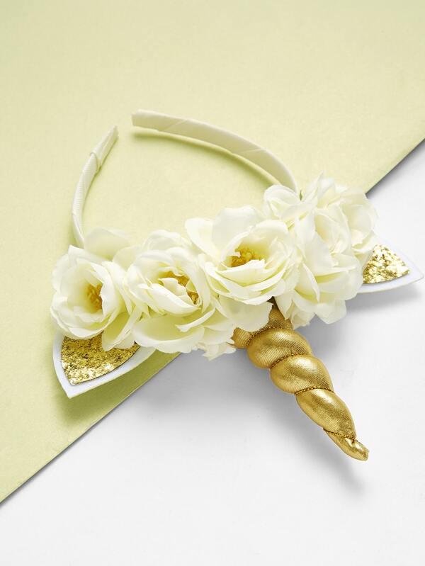Diadema de unicornio con diseño de oreja con flor-Spanish SheIn ...