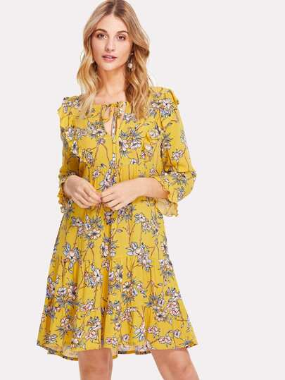 Keyhole Tie Neck Ruffle Floral Dress