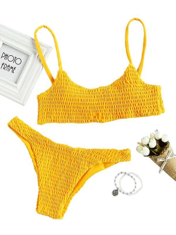 3aeeed51152cd Spaghetti Strap Top With Smocked Bikini