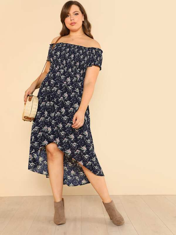 e821e8cc4c9 Plus Calico Print Bardot Dip Hem Dress