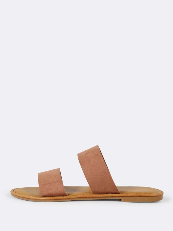 d353c8a07def Faux Suede Double Band Slide Sandal MOCHA