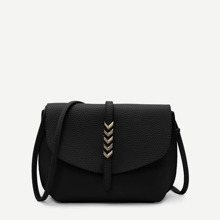 Metal Arrow Front PU Crossbody Bag