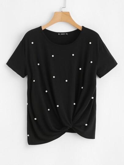 Tee-shirt tordu devant avec perle
