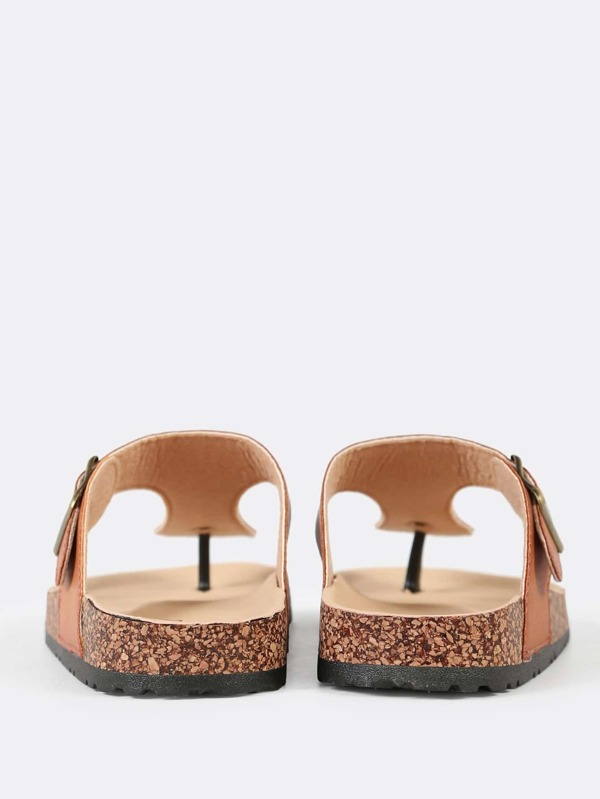cd8f8802dc0807 Cork Footbed Slide Sandal with Buckled T-Strap Thong TAN. AddThis Sharing  Buttons