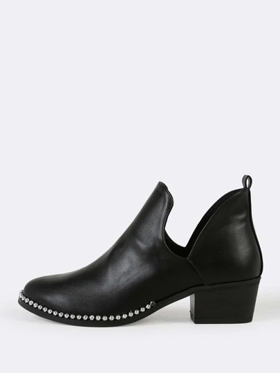 Bead Chain Trim V Cut Ankle Bootie BLACK