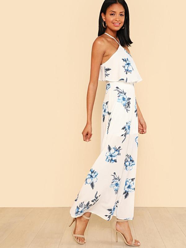 Flounce neckline blue flower print maxi dress white sheinsheinside mightylinksfo