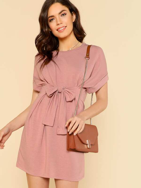 Tie Waist Tee Shirt Dress DUSTY PINK  6933cca61