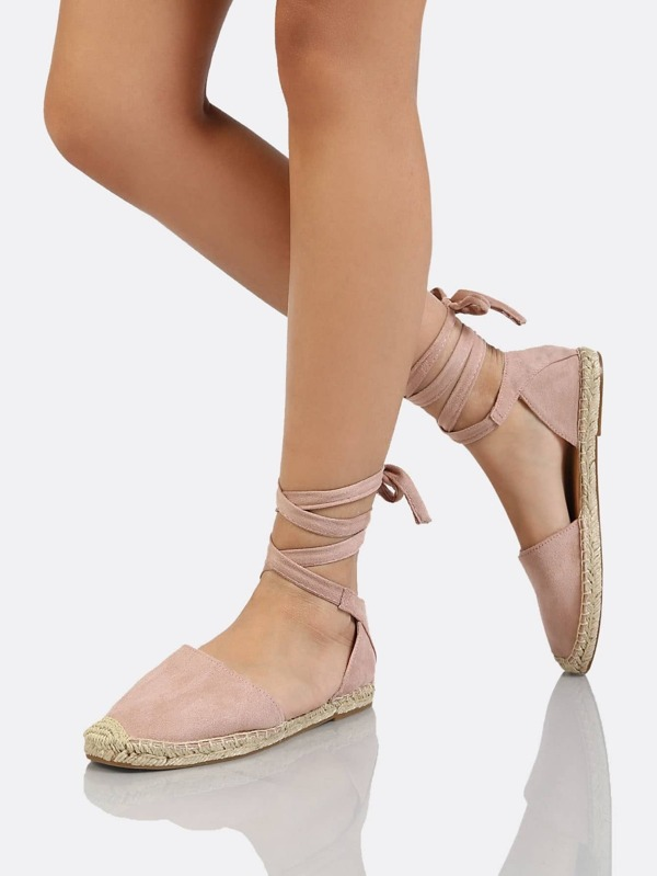 7f6c0fe33 Lace Up Ankle Strap Espadrille Flat MAUVE | SHEIN UK