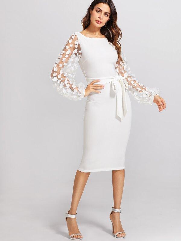3D Applique Mesh Sleeve Self Tie Dress  704aa9915057