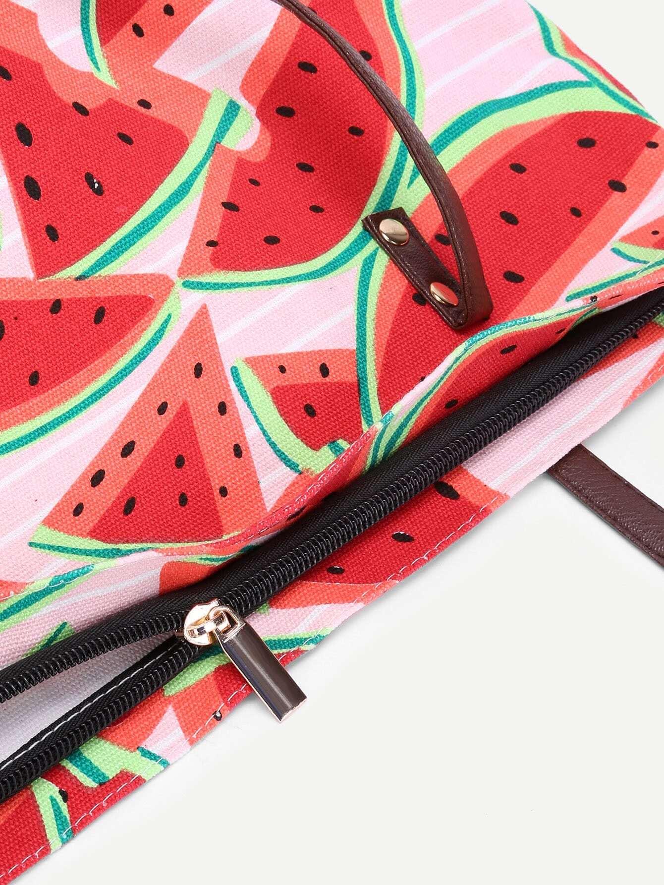3c0fed42dd Watermelon Print Canvas Combination Bag | SHEIN