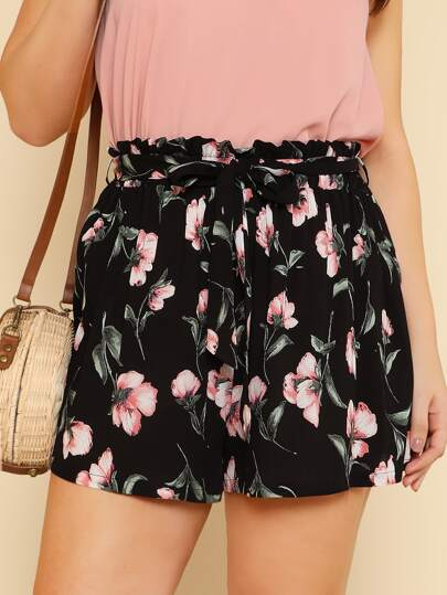 Plus Self Belted Flower Print Shorts