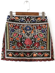 Multicolor Tribal Embroidery Vintage Skirt