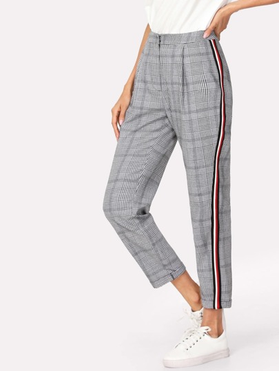 Contrast Tape Side Plaid Pants