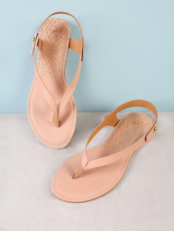 6c6ccabaa5305 Snake Skin Texture Sling Back Thong Flat Sandal NUDE -SheIn(Sheinside)