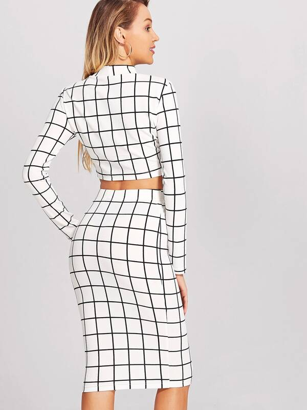 55abe70d6 Crop Grid Top & Pencil Skirt Co-Ord | SHEIN IN