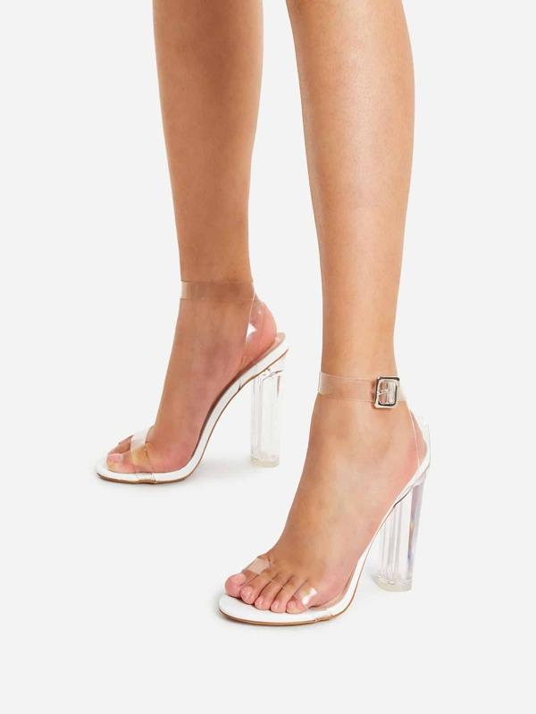 Chaussures à talons transparentes avec lacet de cheville ,French  SheIn(Sheinside)