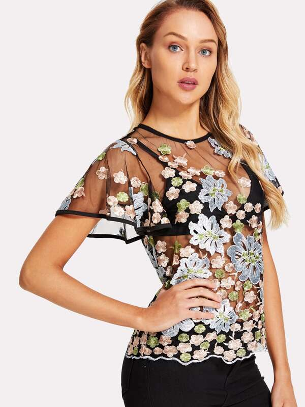 Floral Embroidered Flutter Sleeve Sheer Mesh Top Without Bra  -SheIn(Sheinside)