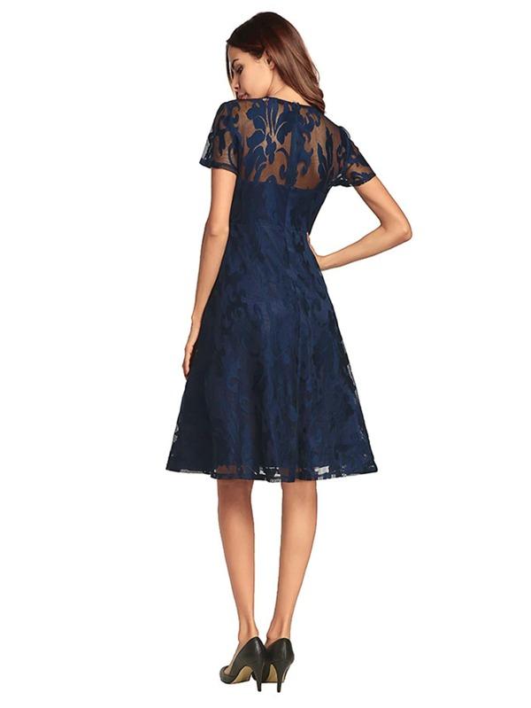 Kleid Transparentem Spitze Und Mit Rücken 0wmN8vOn