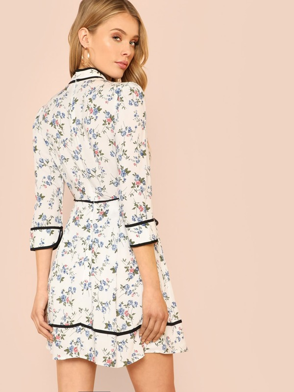 54095ea0c9 Flower Print Long Sleeve Peasant Dress with Ruffle Collar and Black Trim  NAVY WHITE. AddThis Sharing Buttons