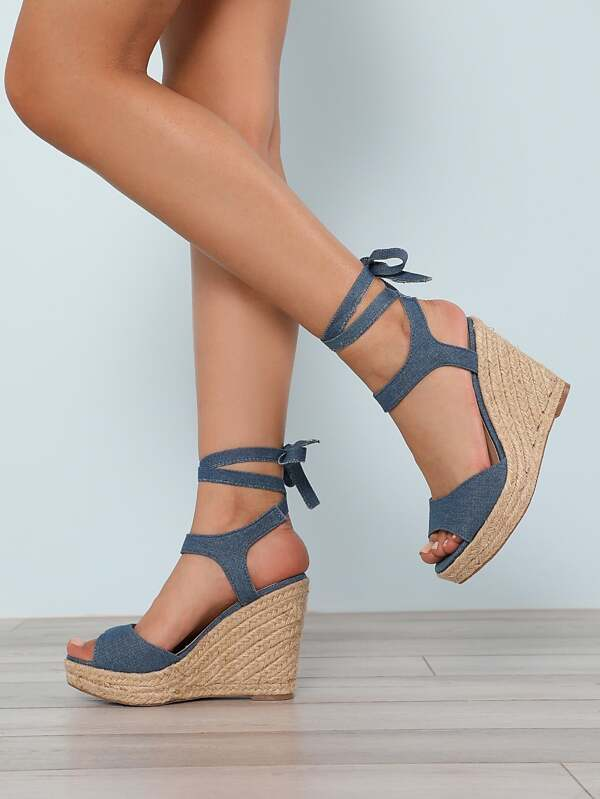 be39051faa8 Faux Suede Ankle Wrap Espadrille Platform Wedge Sandal BLUE