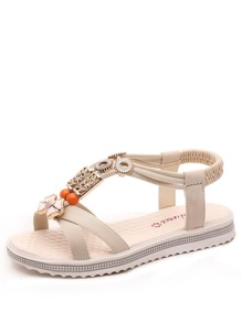 Metal Decorated Cross Strap Sandals