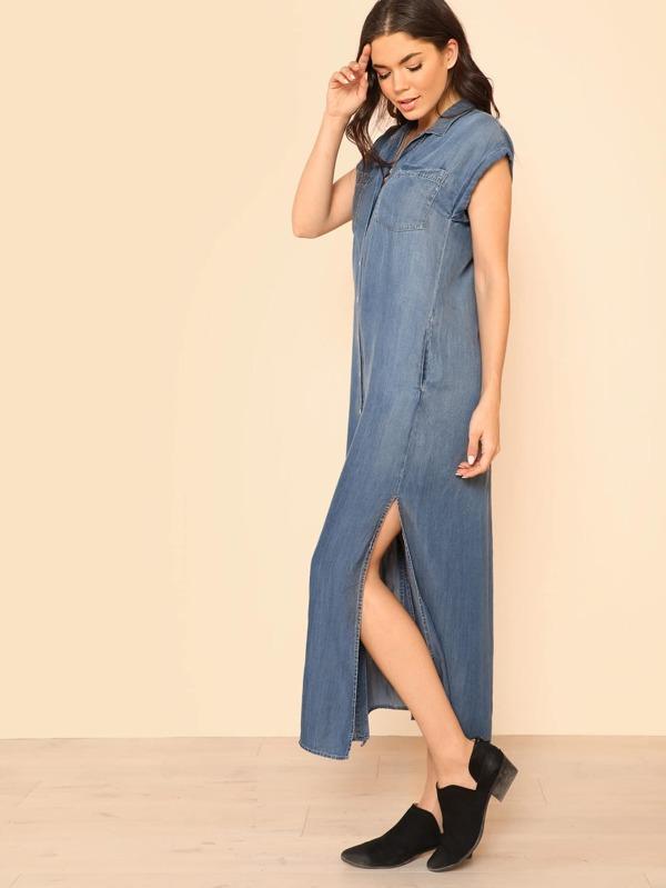 b4bed7983d8 Side Slit Button Up Collared Shirt Dress BLUE