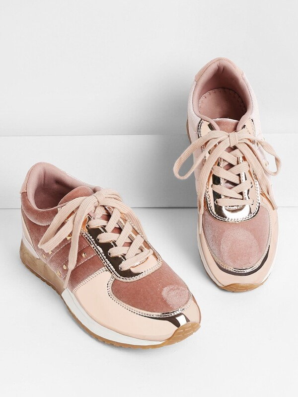 Metallic Insert Lace Up Velvet Sneakers