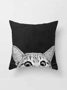 Cat Print Linen Pillowcase