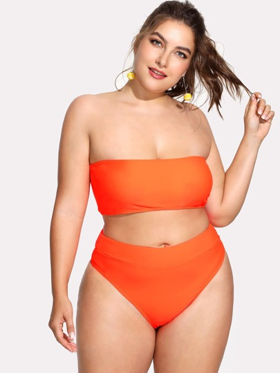 061ca7fdafd10 Plus Neon Orange Bandeau With High Waist Bikini