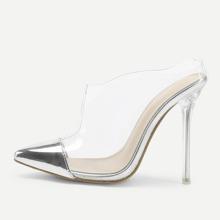 - Transparent Cap Toe Stiletto Heels