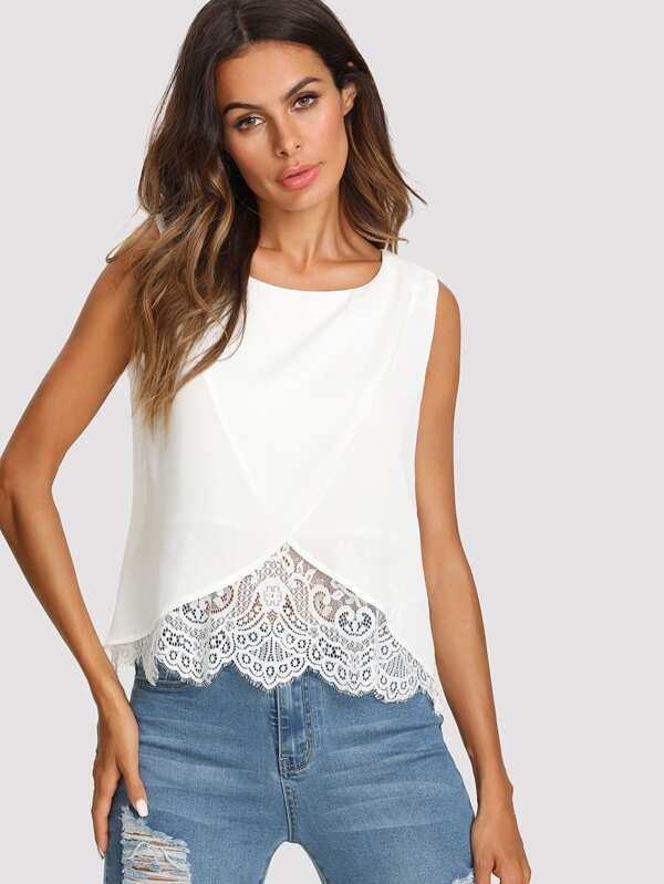 cf44eb617b2fe Lace Insert Wrap Front Top   SHEIN IN