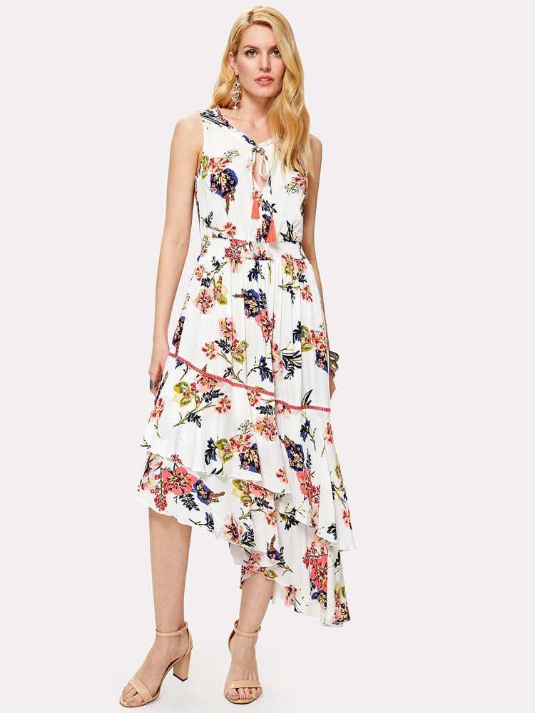 71f55100a4 Tassel Tie Layered Asymmetric Botanical Dress | SHEIN