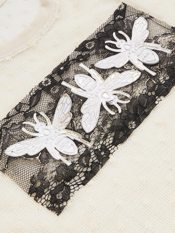 e1022f366d7abc Bee Applique Lace Panel Sheer Top without Bralette
