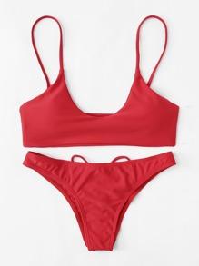 Criss Cross Cami Bikini Set SHEIN