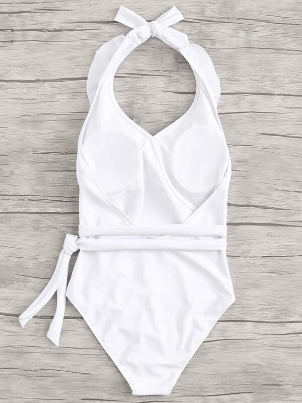 f09201aba0 Open Back Knot Side Ruffle One Piece Swimsuit | SHEIN