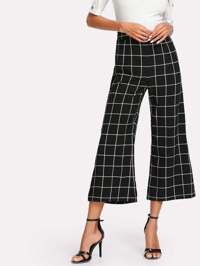 Wide Leg Grid Crop Pants