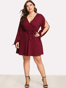 Plus Split Tied Sleeve Surplice Wrap Dress