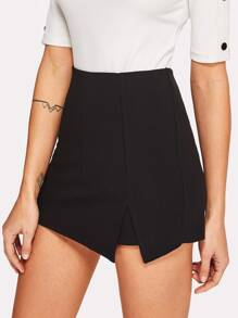 Split Front Solid Skirt Shorts