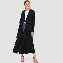 Tiered Ruffle Solid Abaya