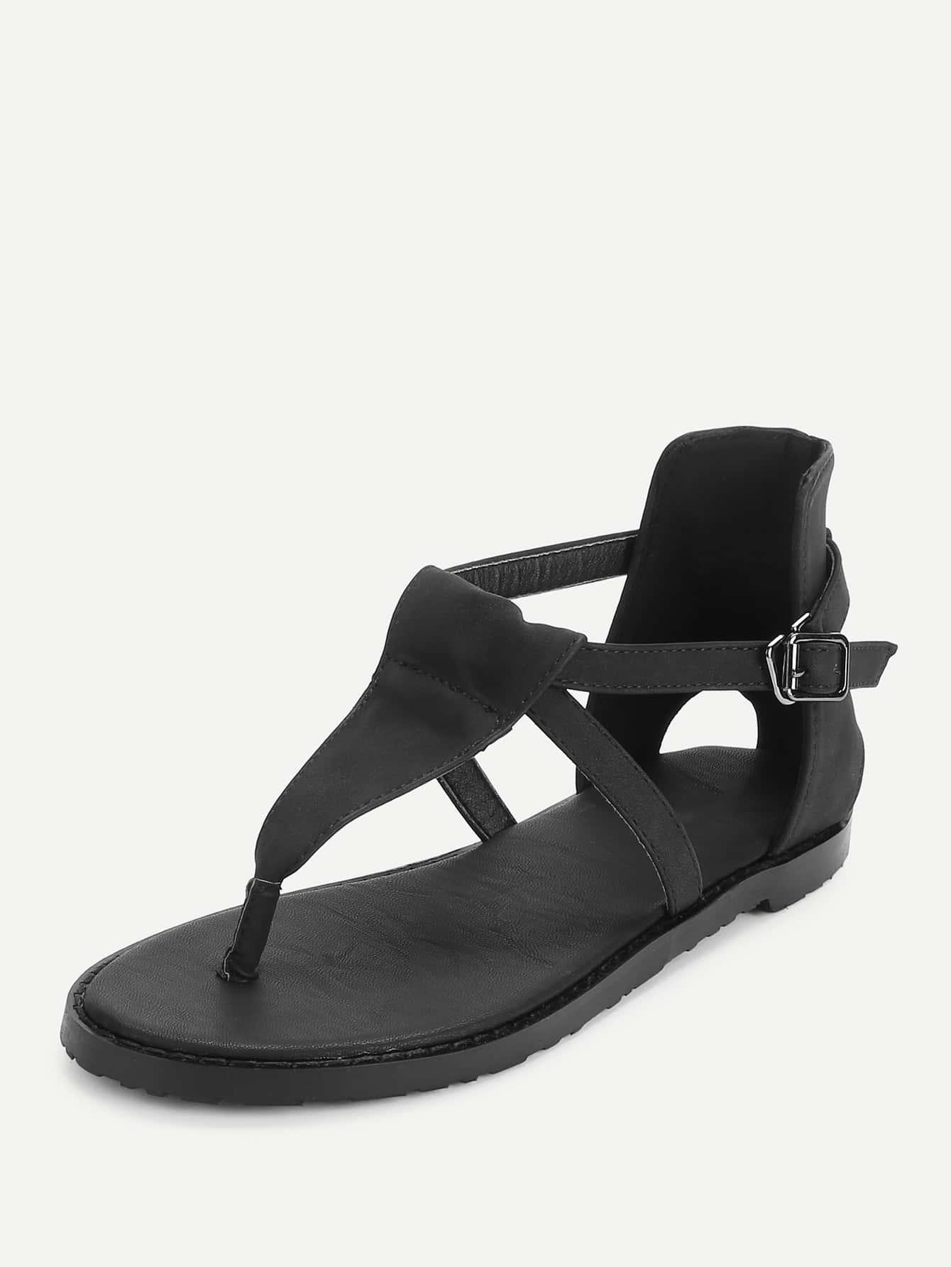 24b2bde832e Toe Post Strappy Flat Sandals -SheIn(Sheinside)