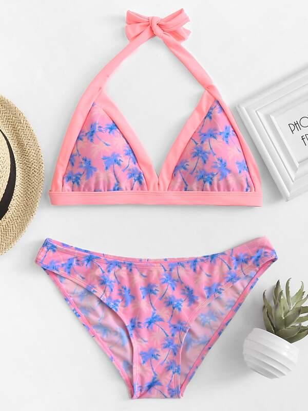 08519e4fe602 Palm Tree Print Halter Top Bikini Set | SHEIN
